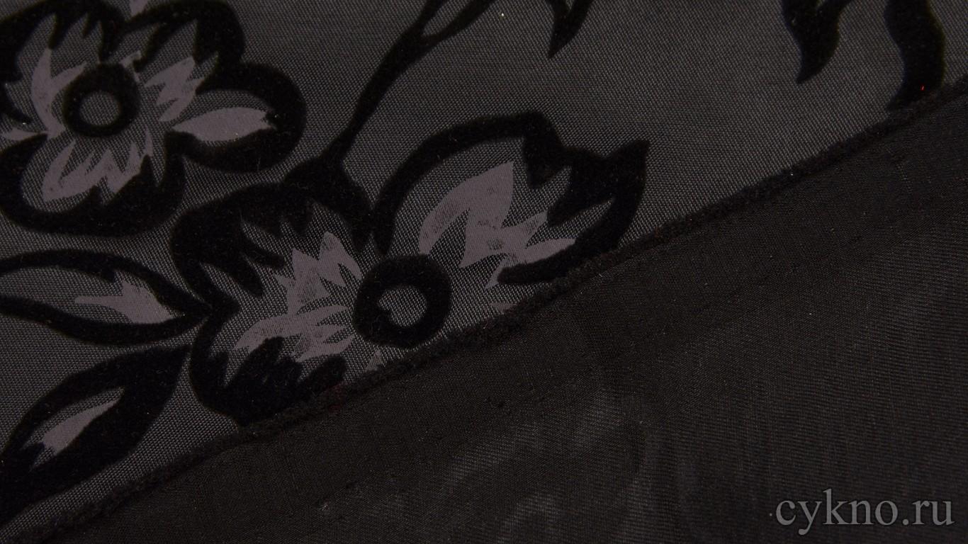 """Атлас-стрейч Плотный Черный c узором """"Крупные цветы"""""""