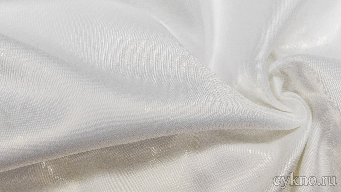 """Атлас-стрейч Плотный """"Белые Цветы"""""""