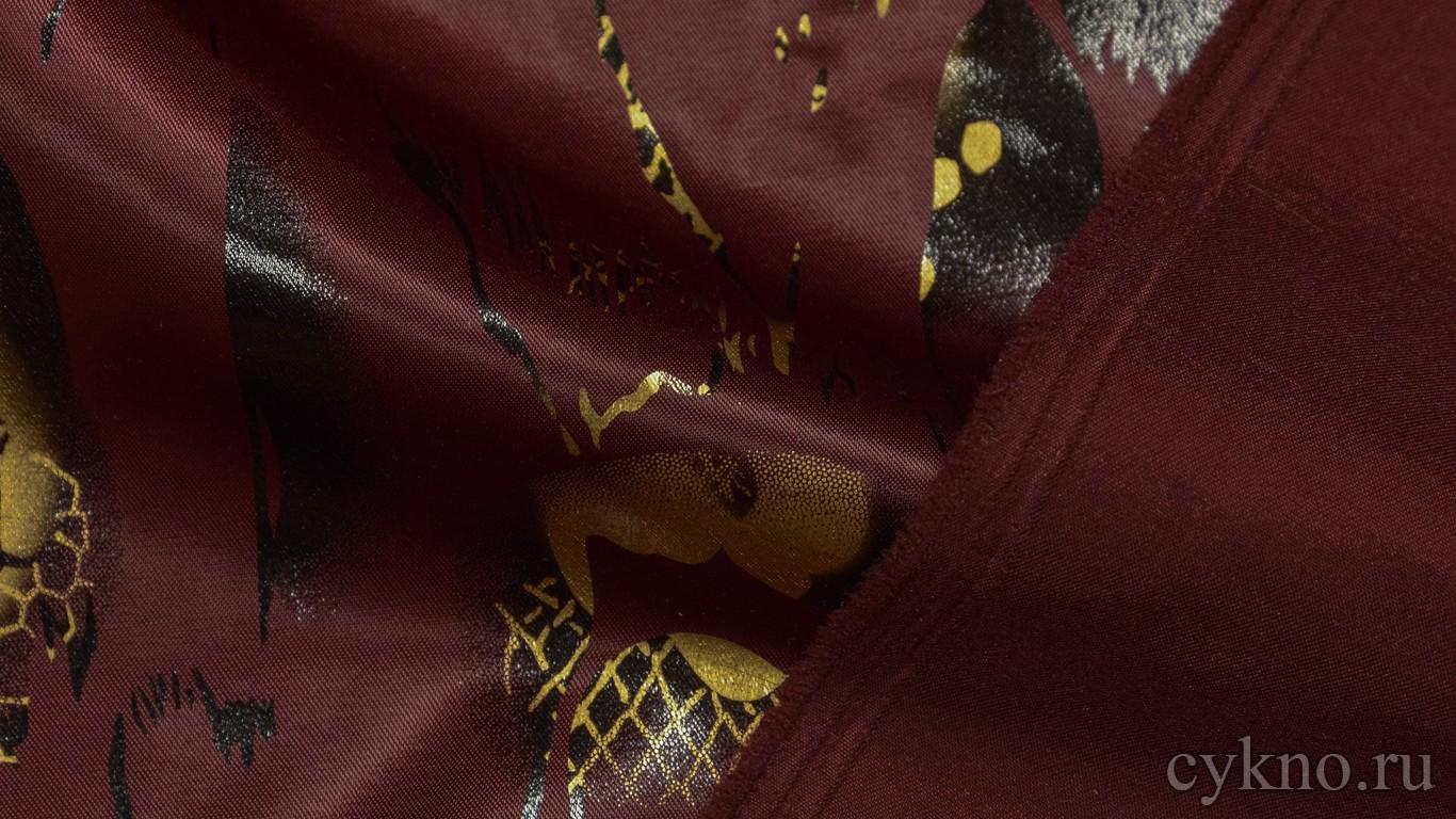 Атлас-стрейч Плотный Бордовый с абстрактным принтом