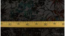 Атлас-стрейч Плотный флок с изумрудными цветами
