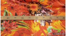 Атлас цветочный принт в оранжевых тонах