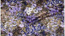Атлас цветочный принт в сиреневых тонах