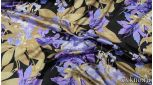 Атлас принт сиреневые цветы на темном фоне
