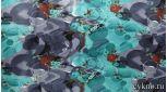 Атлас принт абстракция в бирюзовом и сером