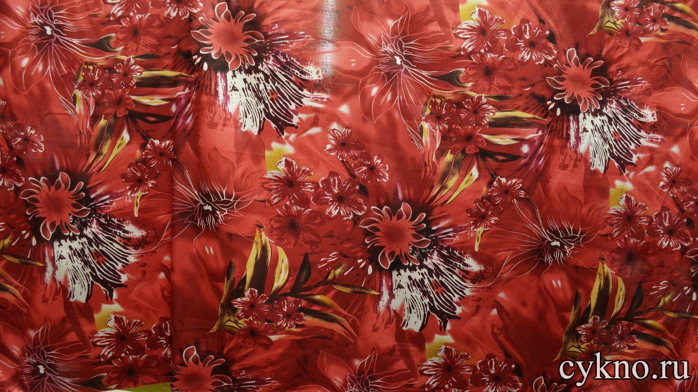 Атлас принт багровые цветы