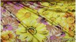 Атлас  принт крупные желтые цветы