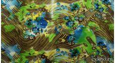 Атлас принт цветочная абстракция в весенних тонах