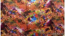 Атлас принт абстракция в осенних тонах