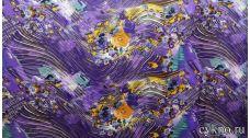 Атлас принт абстракция в темно-сиреневом цвете