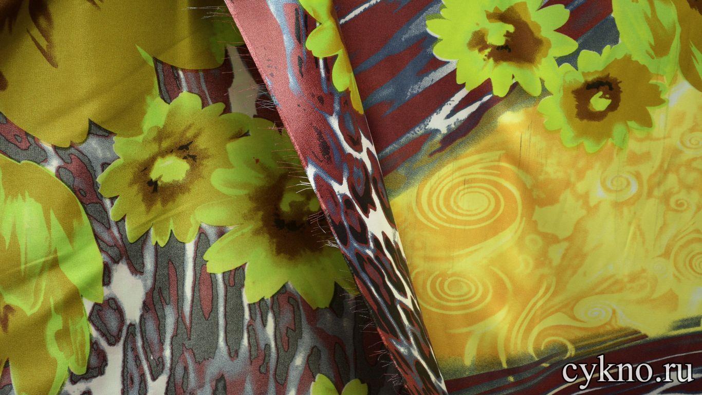 Атлас принт желтые цветы на темном