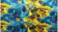 Атлас принт абстракция в желтом и голубом цвете