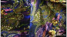 Атлас принт турецкий огурец цвета ультрамарин