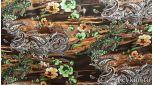 Атлас принт турецкий огурец темно-коричневый