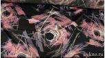 Атлас принт пыльно-розовая абстракция на черном