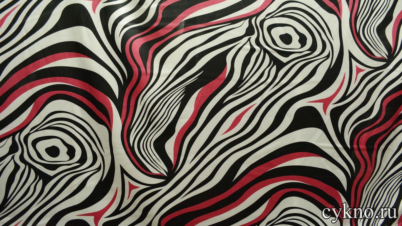 Атлас принт белые и красные волны на черном