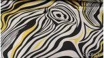 Атлас принт белые и желтые волны на черном