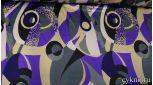 Атлас принт абстракция в неоново-фиолетовых тонах