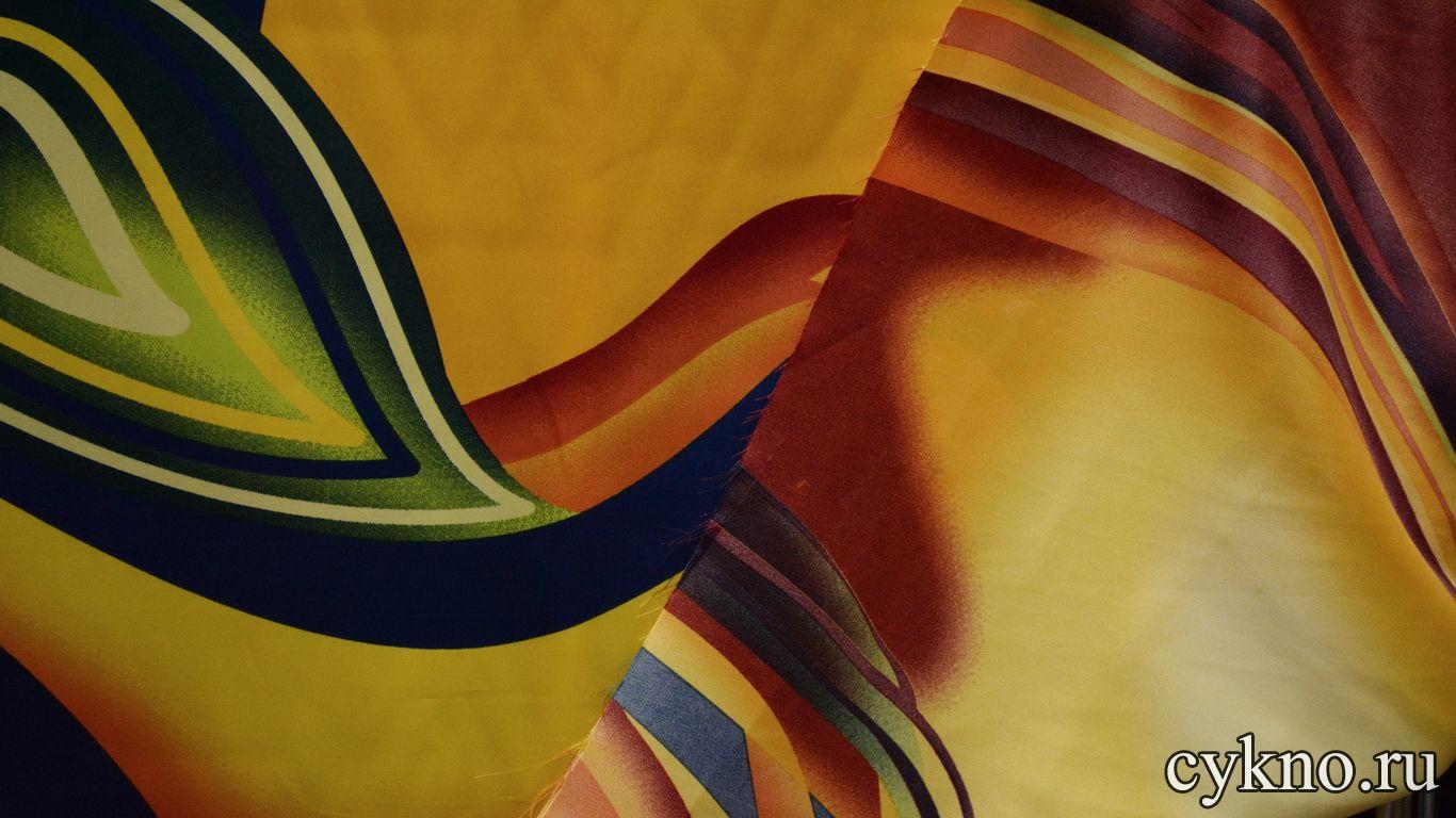 Атлас принт абстракция на тему осени