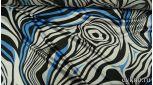 Атлас принт синие и белые волны на черном