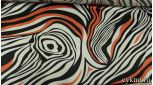 Атлас принт оранжевые и белые волны на черном