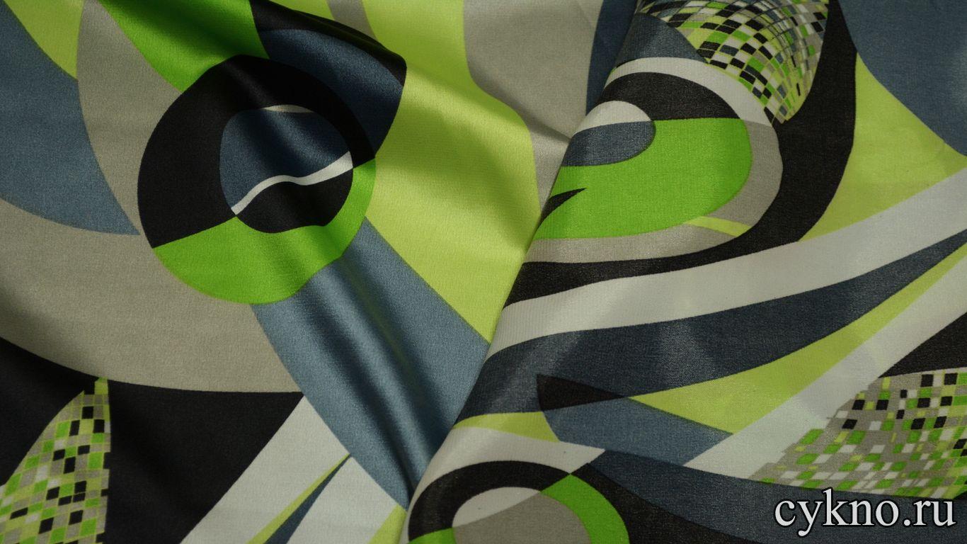 Атлас принт абстракция в цвете лайма