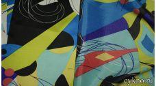 Атлас с принтом в стиле абстракционизм
