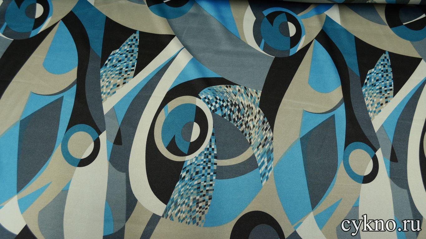 Атлас принт мозаика в стиле абстракционизм