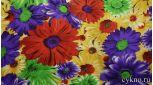 Атлас принт крупные фиолетовые и желтые цветы