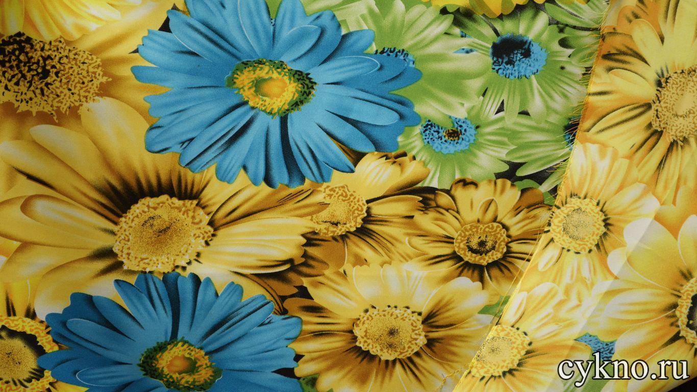 Атлас принт желто-зеленые цветы