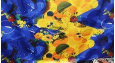 Атлас принт сине-желтые цветы