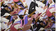 Атлас с темным принтом в стиле абстракционизм