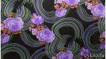 Атлас принт сиреневые цветы и кольца на темном