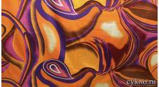 Атлас с принтом в теплых осенних цветах