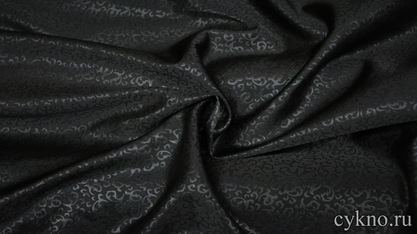 Атлас жаккардовый черный