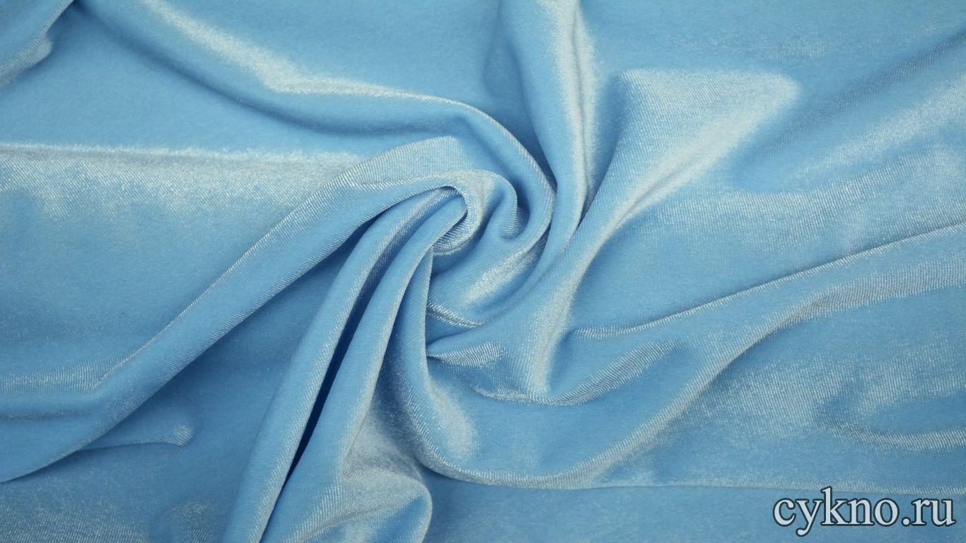 Бархат однотонный голубой