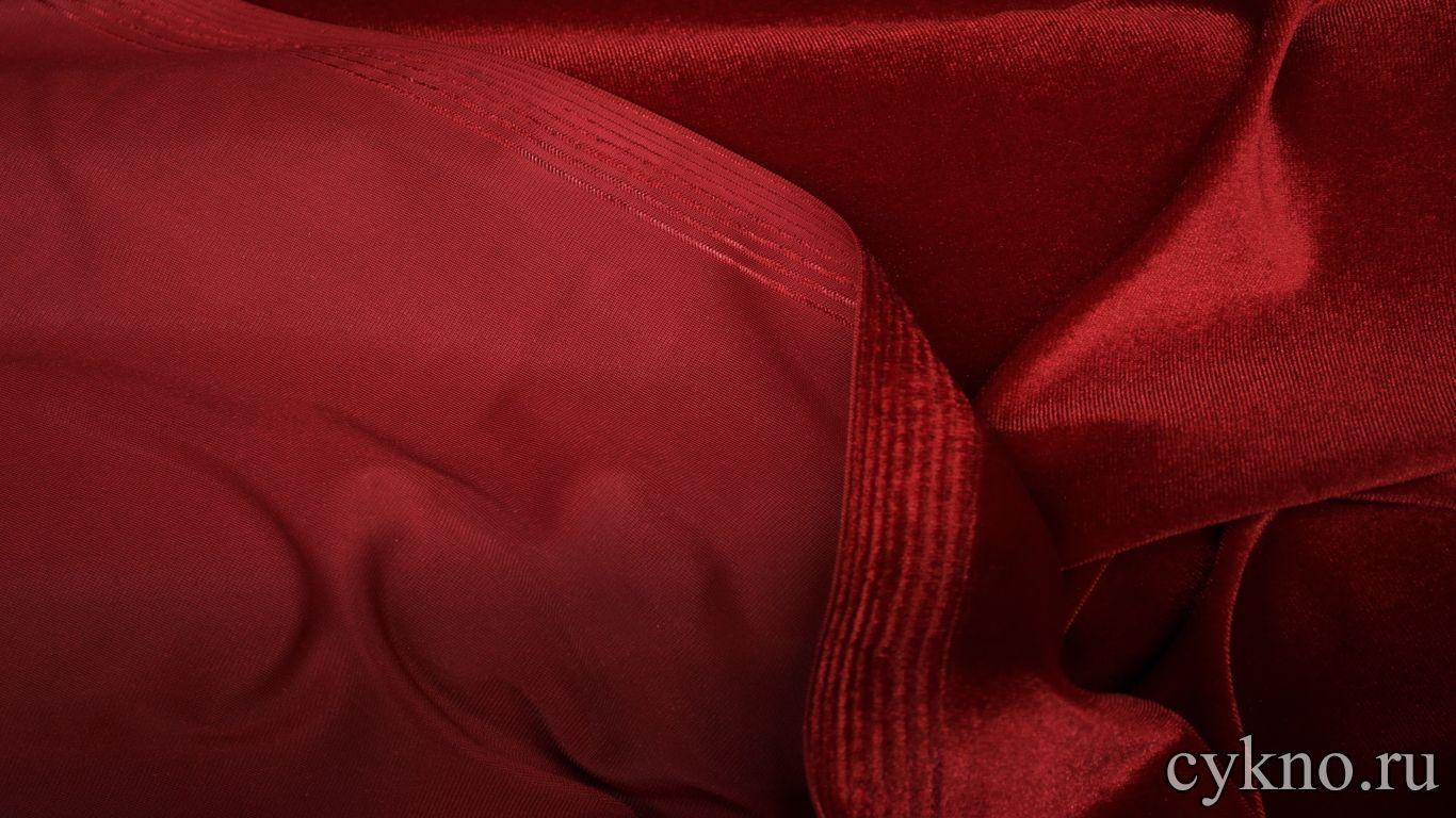 Бархат однотонный темный красный