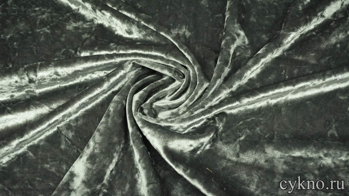 Бархат мраморный серый с зеленым оттенком
