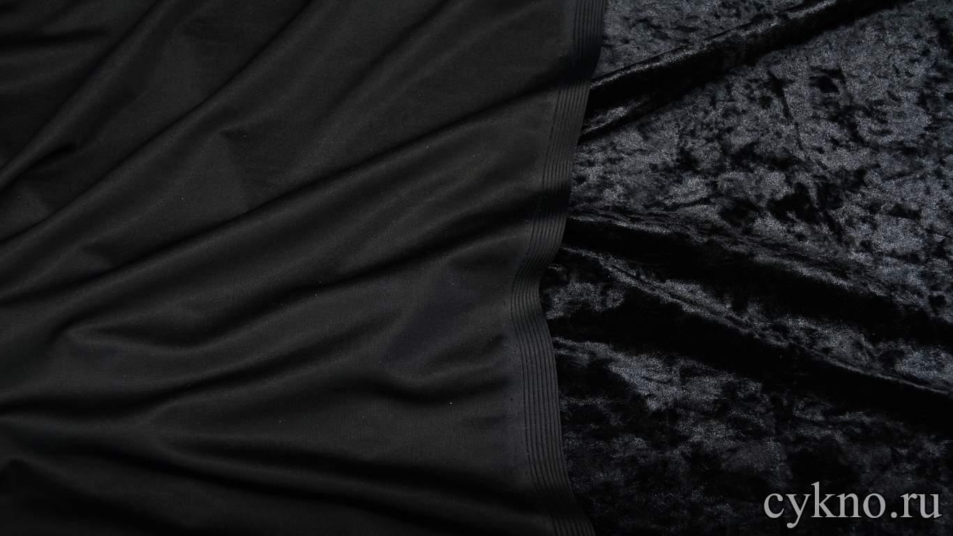 Бархат мраморный черный