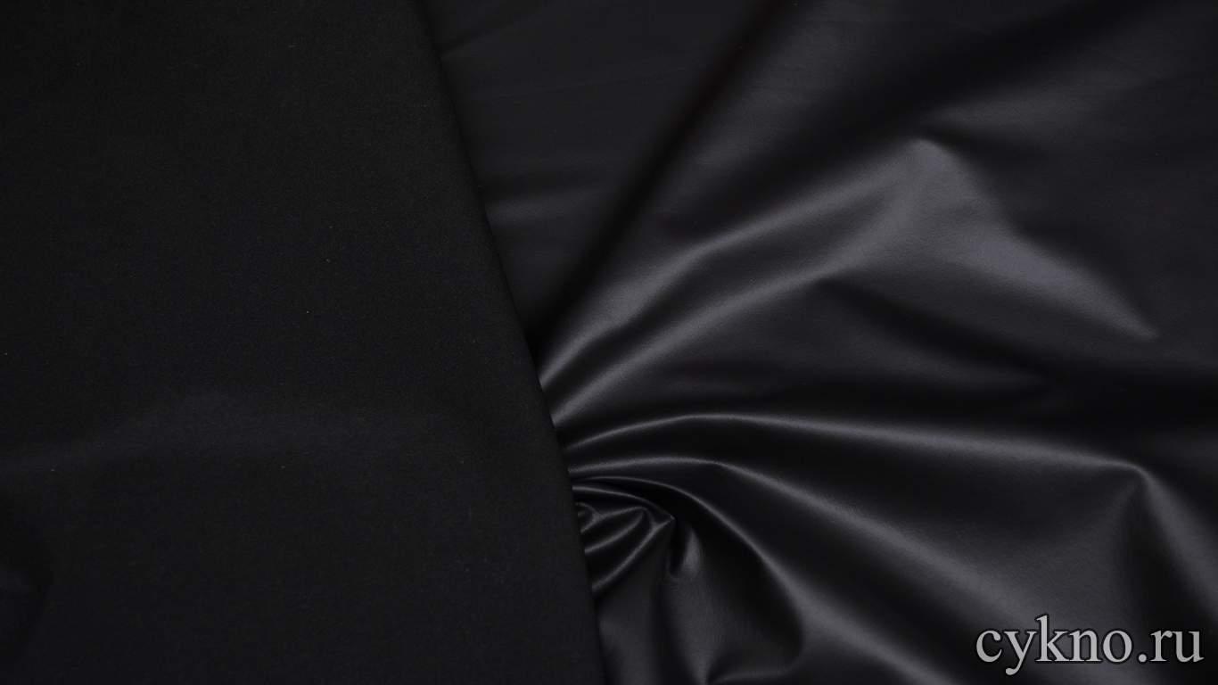 Парча-стрейч матовая черная