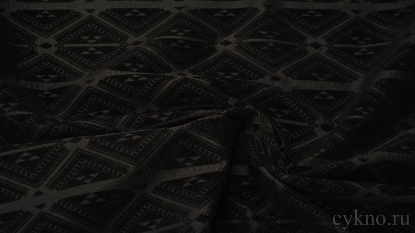 Костюмная ткань черная флок