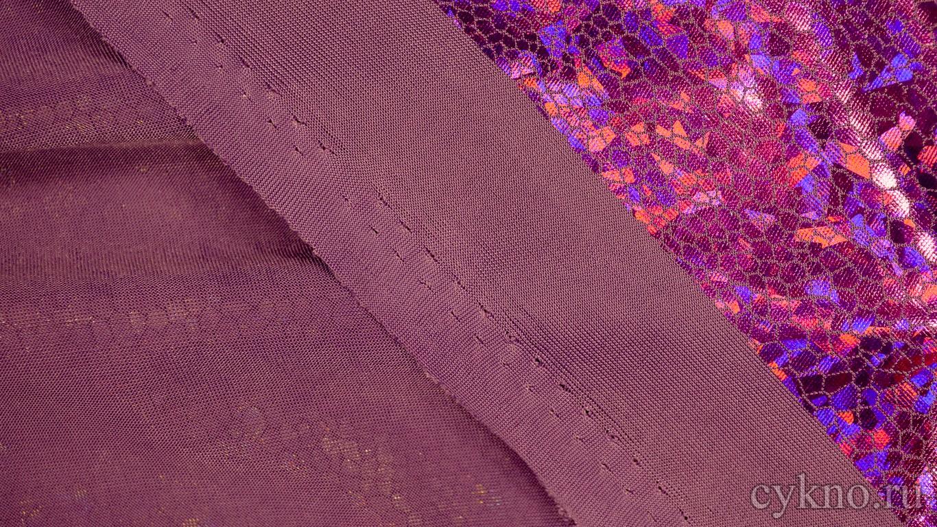 Ткань Голограмма Баклажановая