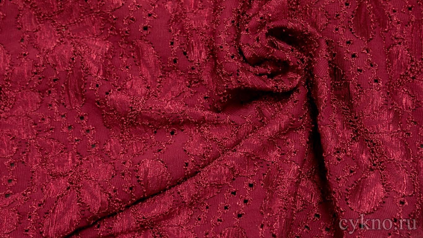 Ткань Гипюр глубокий красный