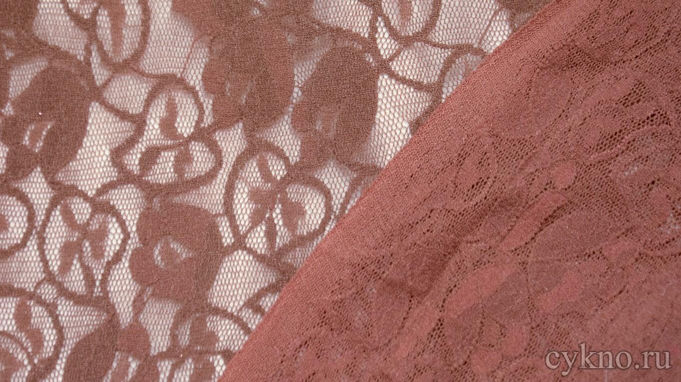 Ткань Гипюр розово-коричневый