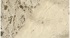 Ткань Гипюр бледно-песочный с пайетками