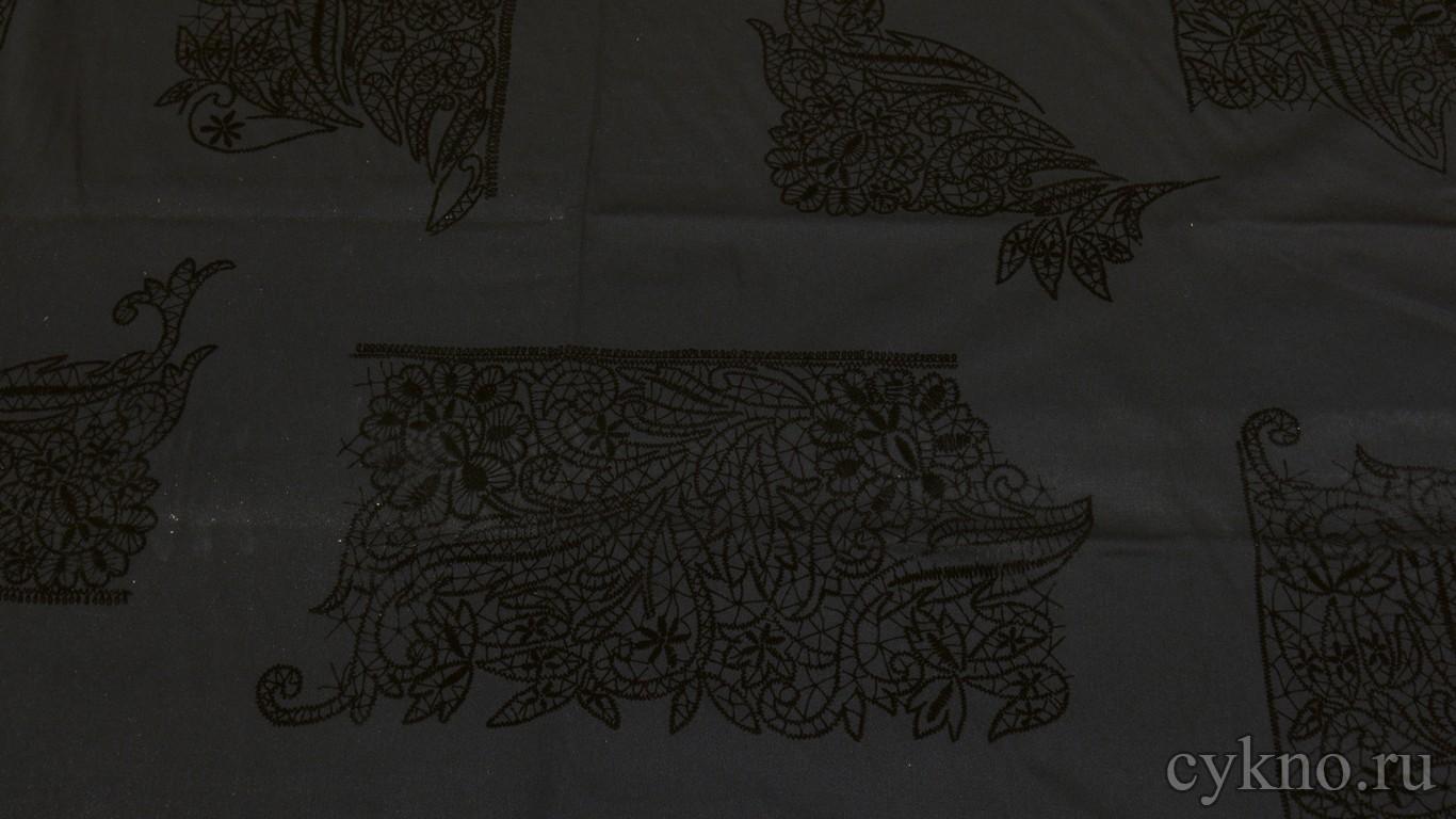 """Ткань Джинс """"Графит с вышивкой"""""""