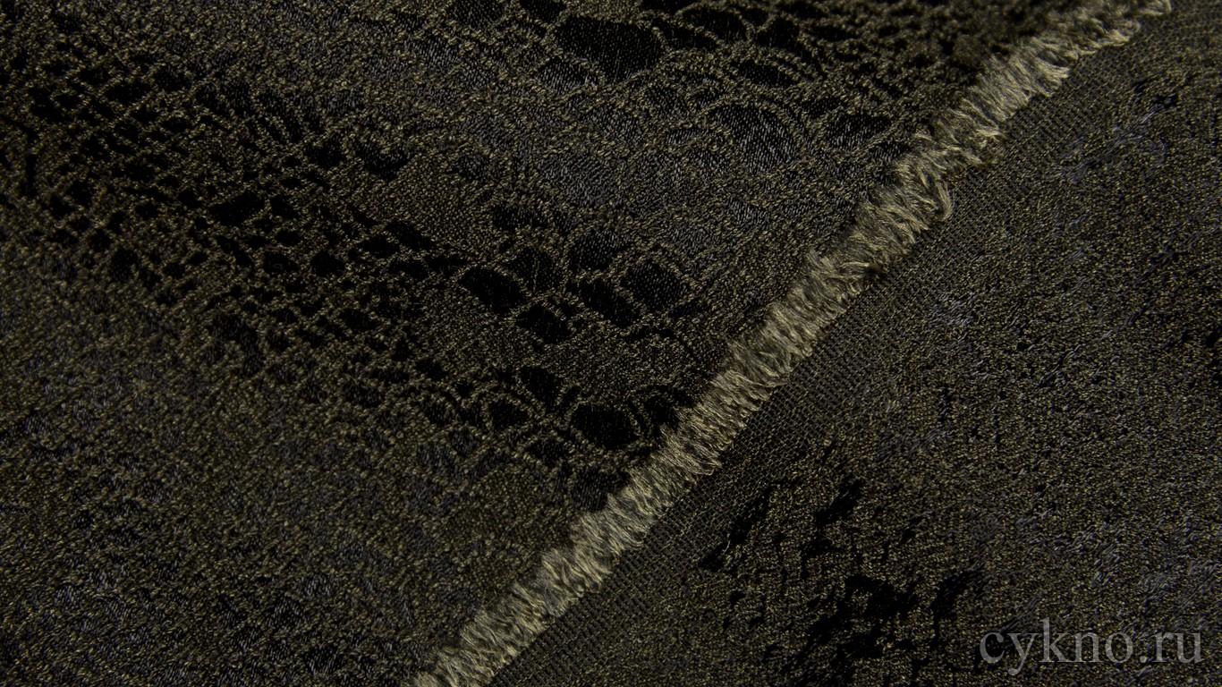 """Ткань Костюмная """"Темно-оливковый узор на черном"""""""
