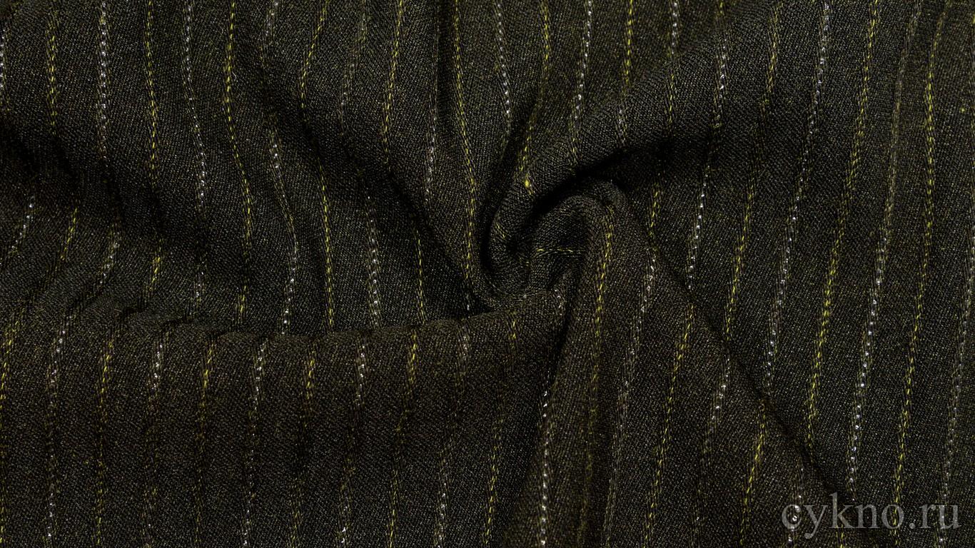 Ткань Костюмная Коричнево-зеленая с полоской-люрекс