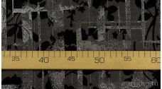 Ткань Костюмная в елочку с узором цветов на серебре