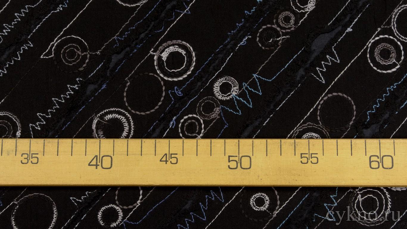 Ткань Трикотаж черный с вышивкой