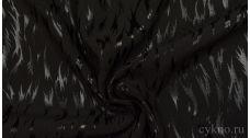"""Ткань Костюмная """"Аппликация серебро на черном"""""""